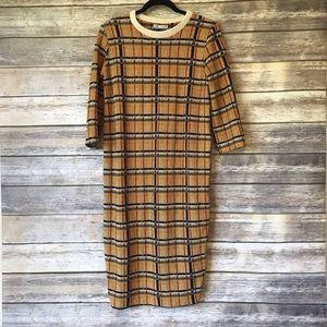 Zara Size S mustard plaid retro style dress